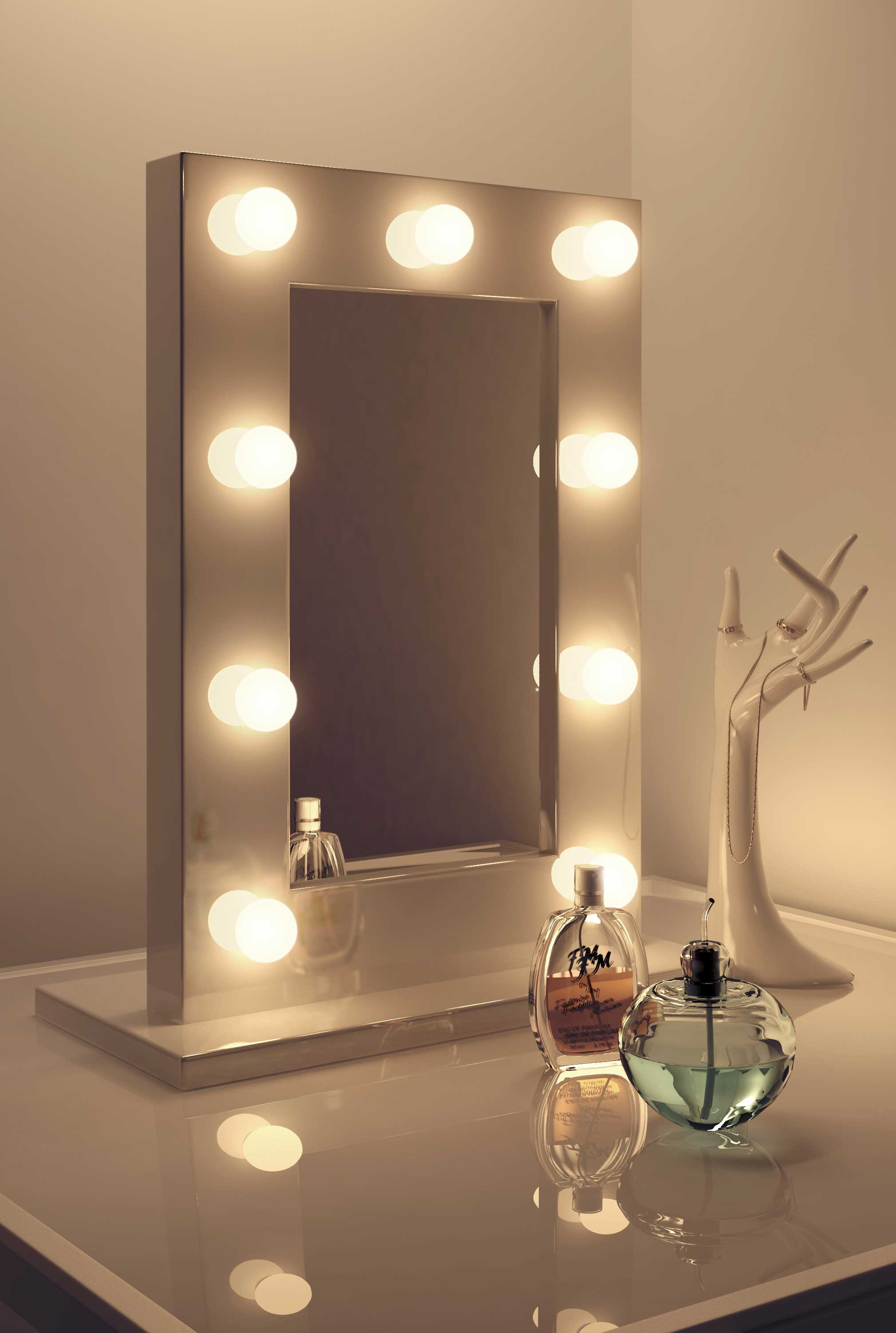 Diamond X Gloss White Hollywood Makeup Mirror Warm Dimmable Led K217ww
