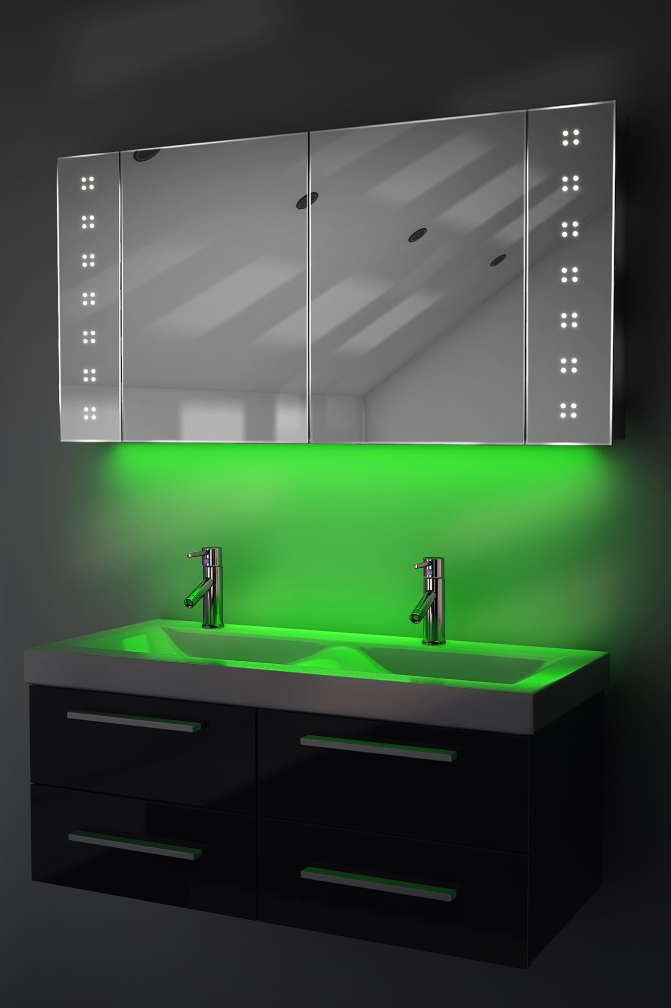 bathroom cabinet with ambient under lighting sensor