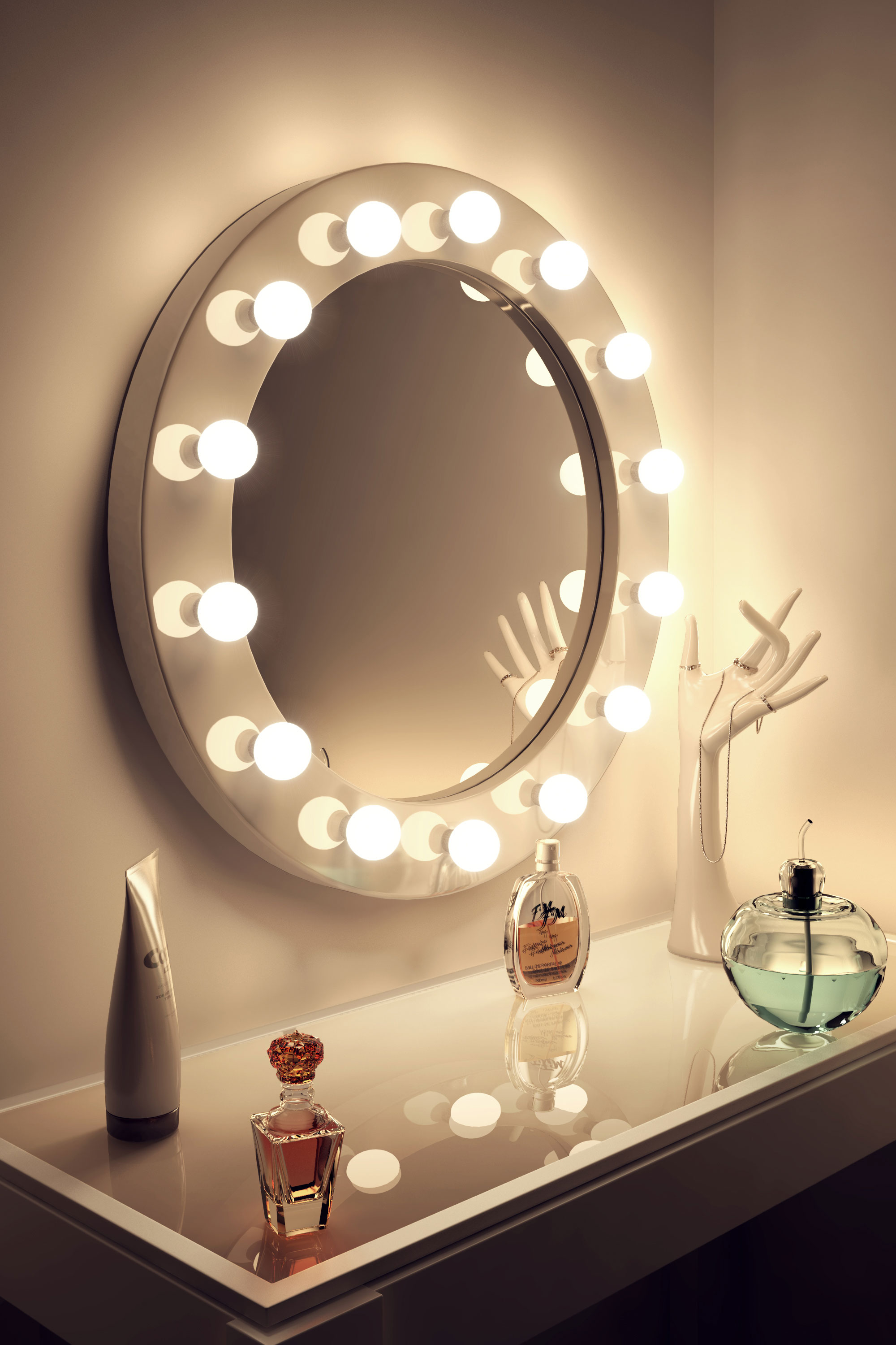 high gloss white round hollywood makeup mirror with dimmable lamps k246 ebay. Black Bedroom Furniture Sets. Home Design Ideas