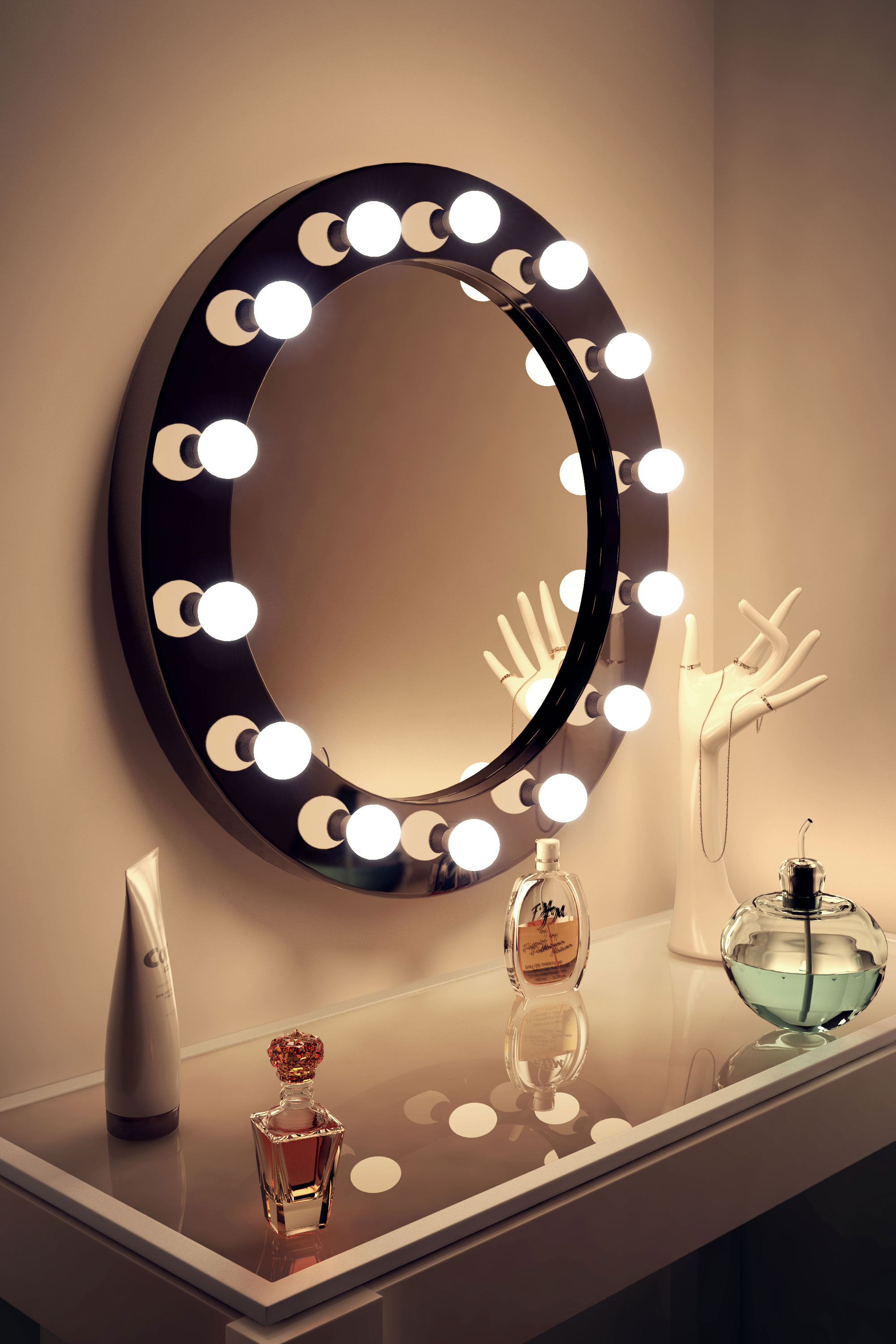 High Gloss Black Round Hollywood Makeup Mirror With