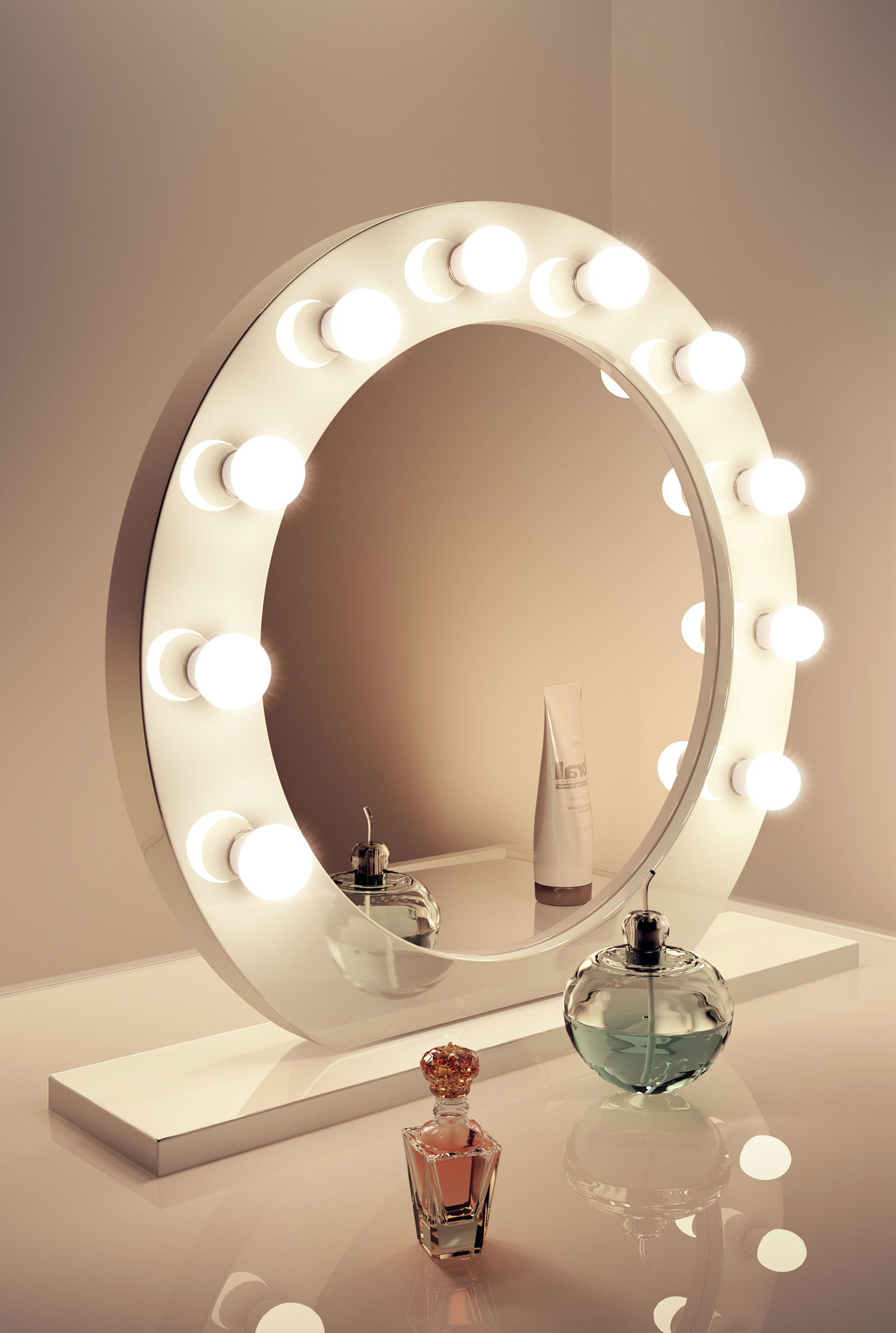 High Gloss White Round Hollywood Makeup Mirror With Warm White LED Lamps K248