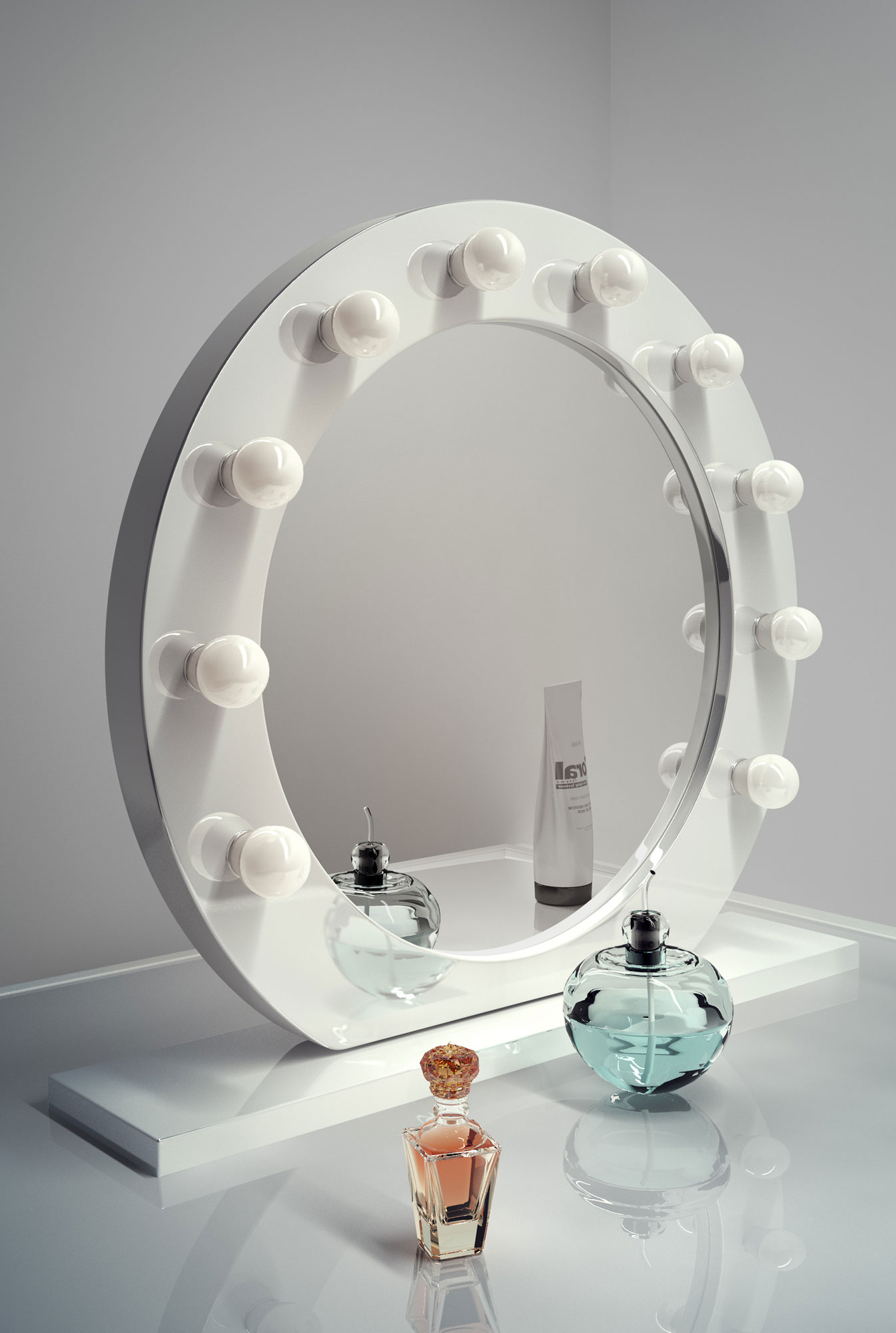 high gloss white round hollywood makeup mirror with cool. Black Bedroom Furniture Sets. Home Design Ideas