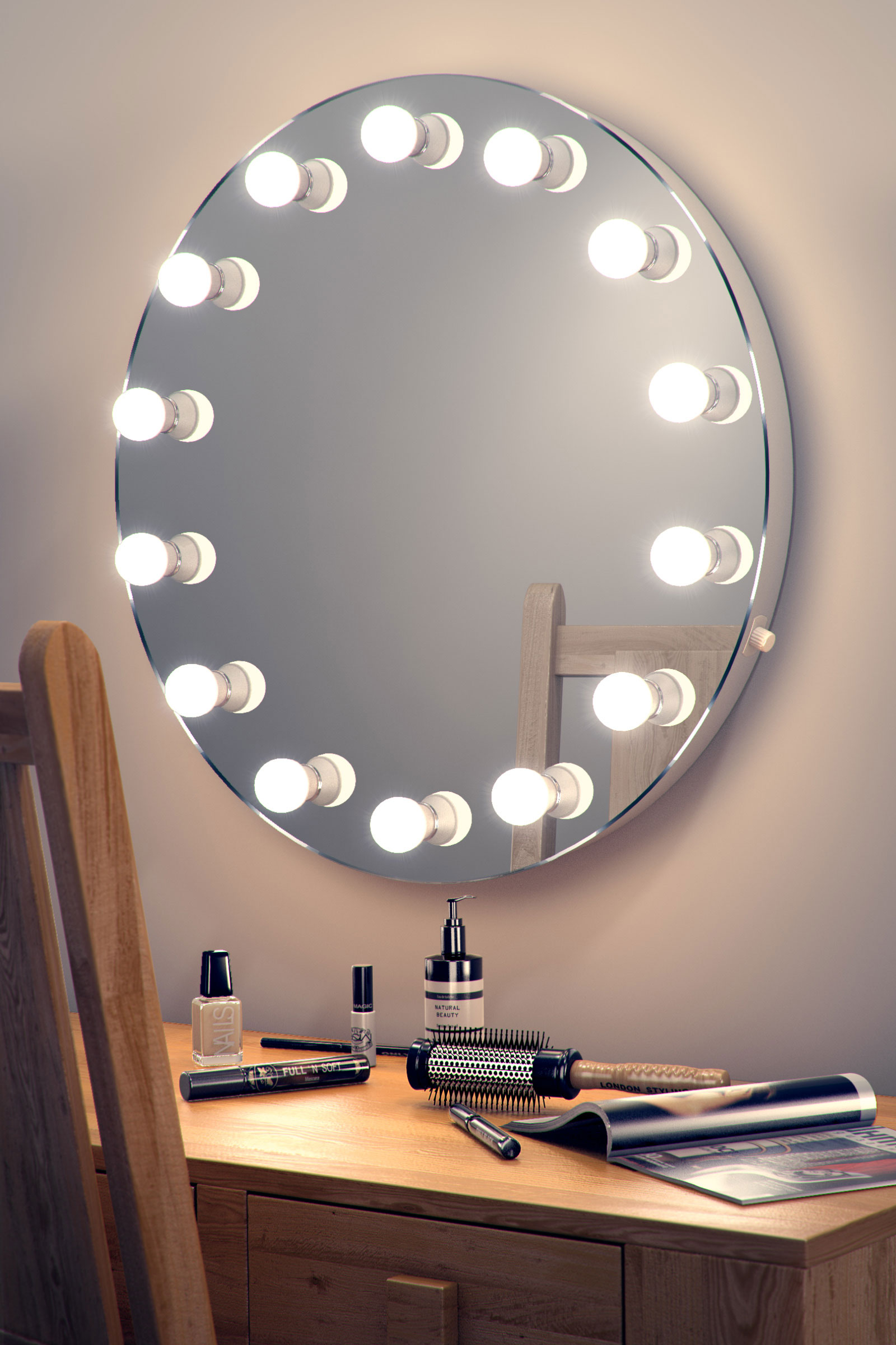 round hollywood makeup dressing room mirror with dimmable lamps k250 ebay. Black Bedroom Furniture Sets. Home Design Ideas