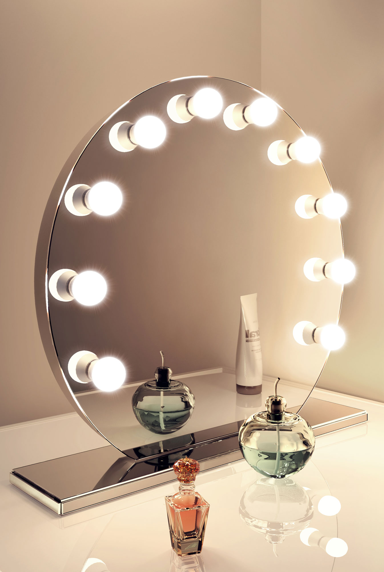Mirror finish hollywood make up mirror with cool white led for Beauty mirror