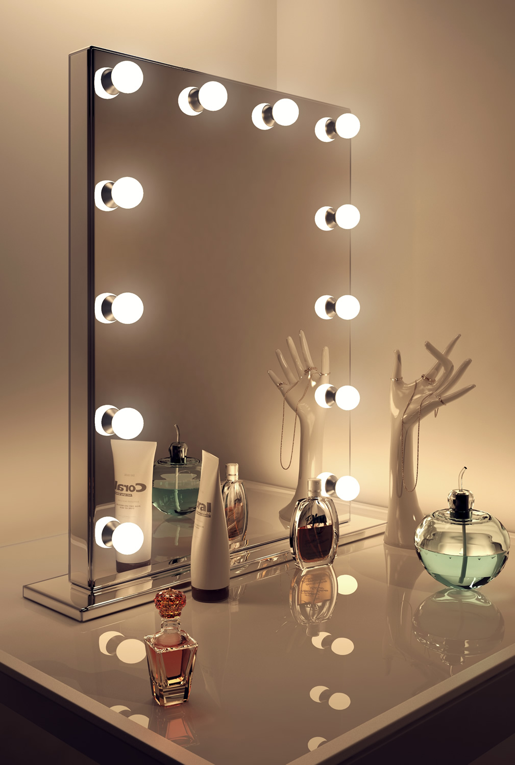Mirror finish hollywood makeup dressing room mirror with for Miroir led ikea