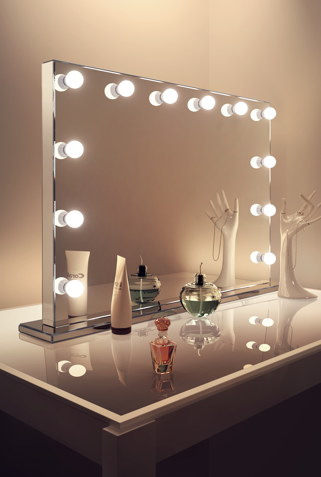 details about mirror finish hollywood makeup mirror with warm white. Black Bedroom Furniture Sets. Home Design Ideas