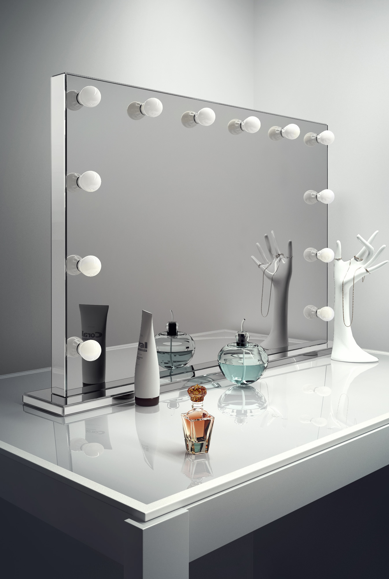 mirror finish makeup mirror with warm white 13141
