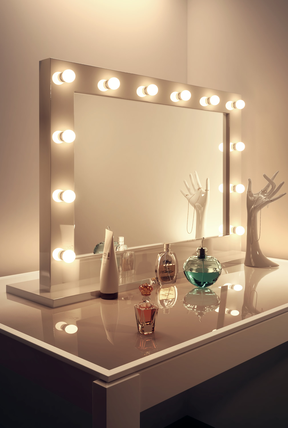 miroir blanc laqu hollywood make up theatre dressing k313 ebay. Black Bedroom Furniture Sets. Home Design Ideas