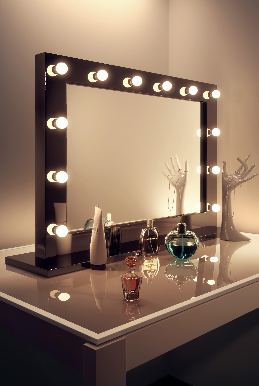 schwarzer hochglanz hollywood theater garderobe schminkspiegel k314cw ebay. Black Bedroom Furniture Sets. Home Design Ideas