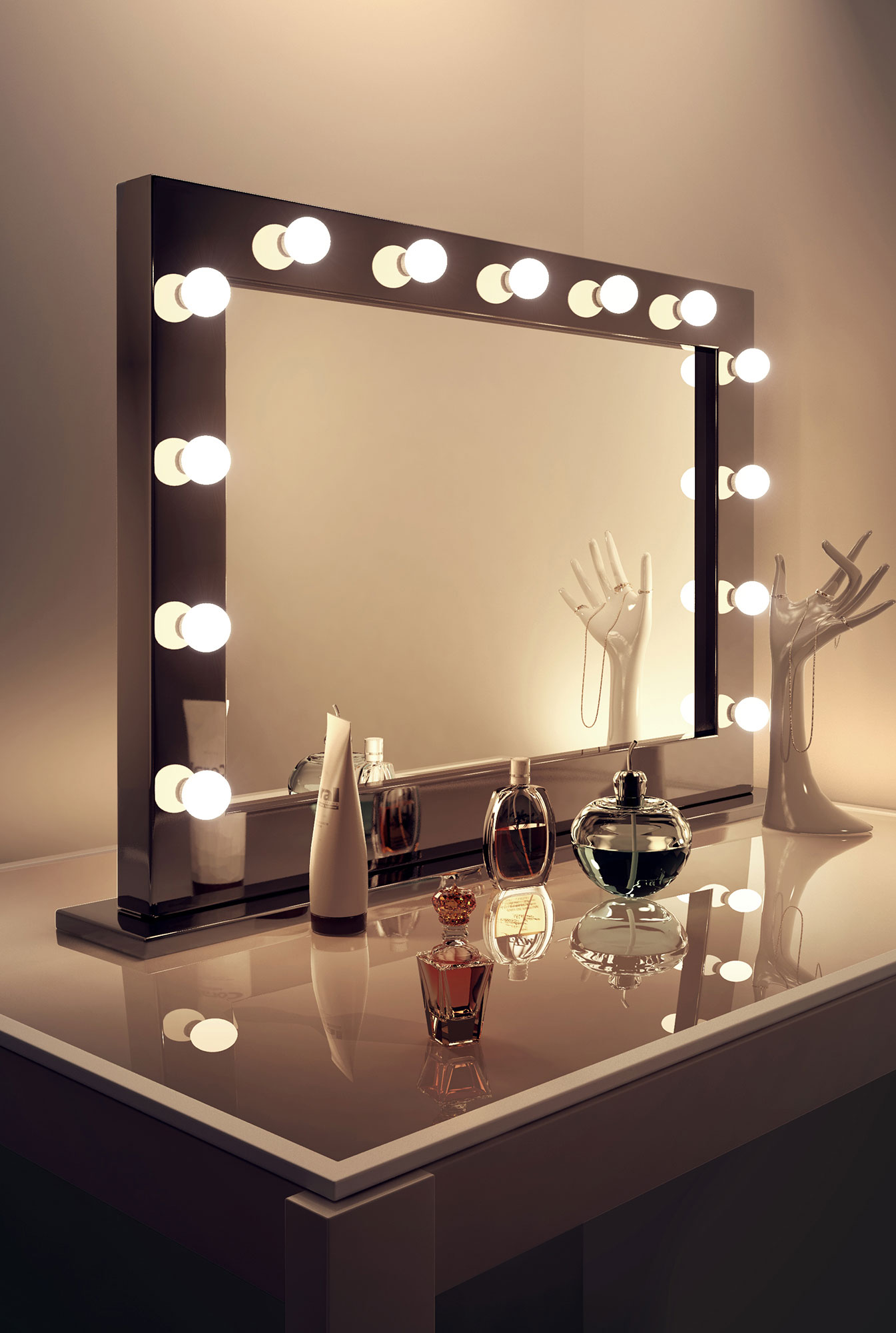 high gloss black hollywood makeup dressing room mirror with dimmable bulbs k3. Black Bedroom Furniture Sets. Home Design Ideas