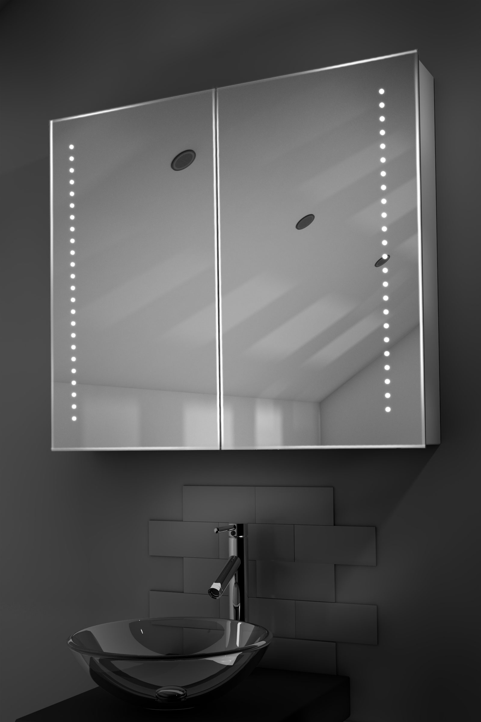 Vasos led bathroom cabinet with demister pad sensor for Bathroom cabinets led