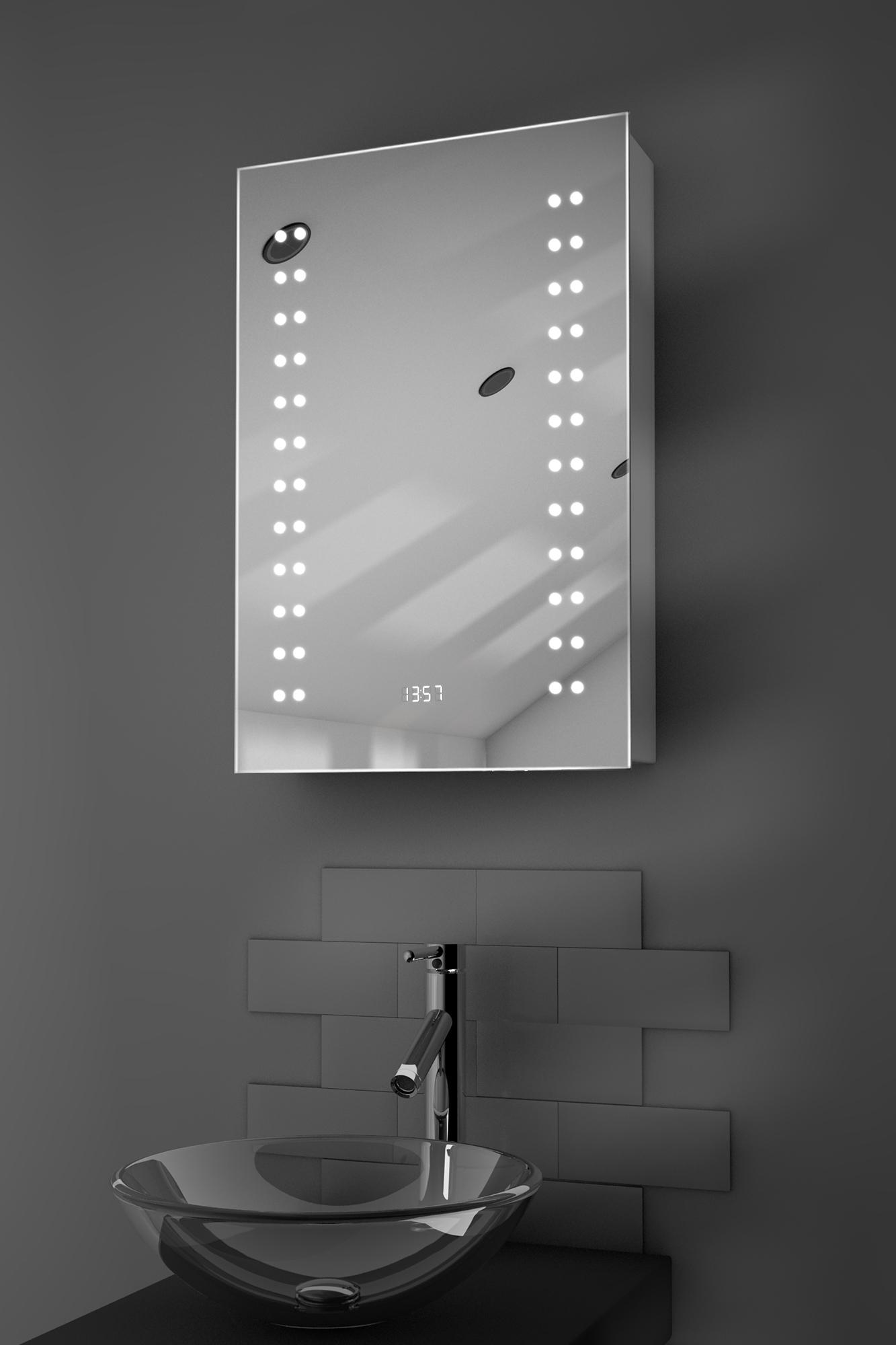 Balta Clock Led Bathroom Cabinet With Demister Pad Sensor Shaver K382 Ebay