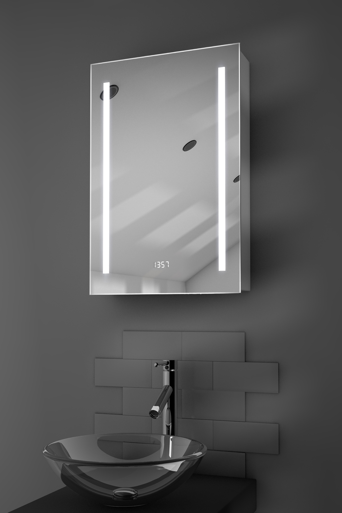Calais clock led bathroom cabinet with demister pad for Bathroom cabinets led