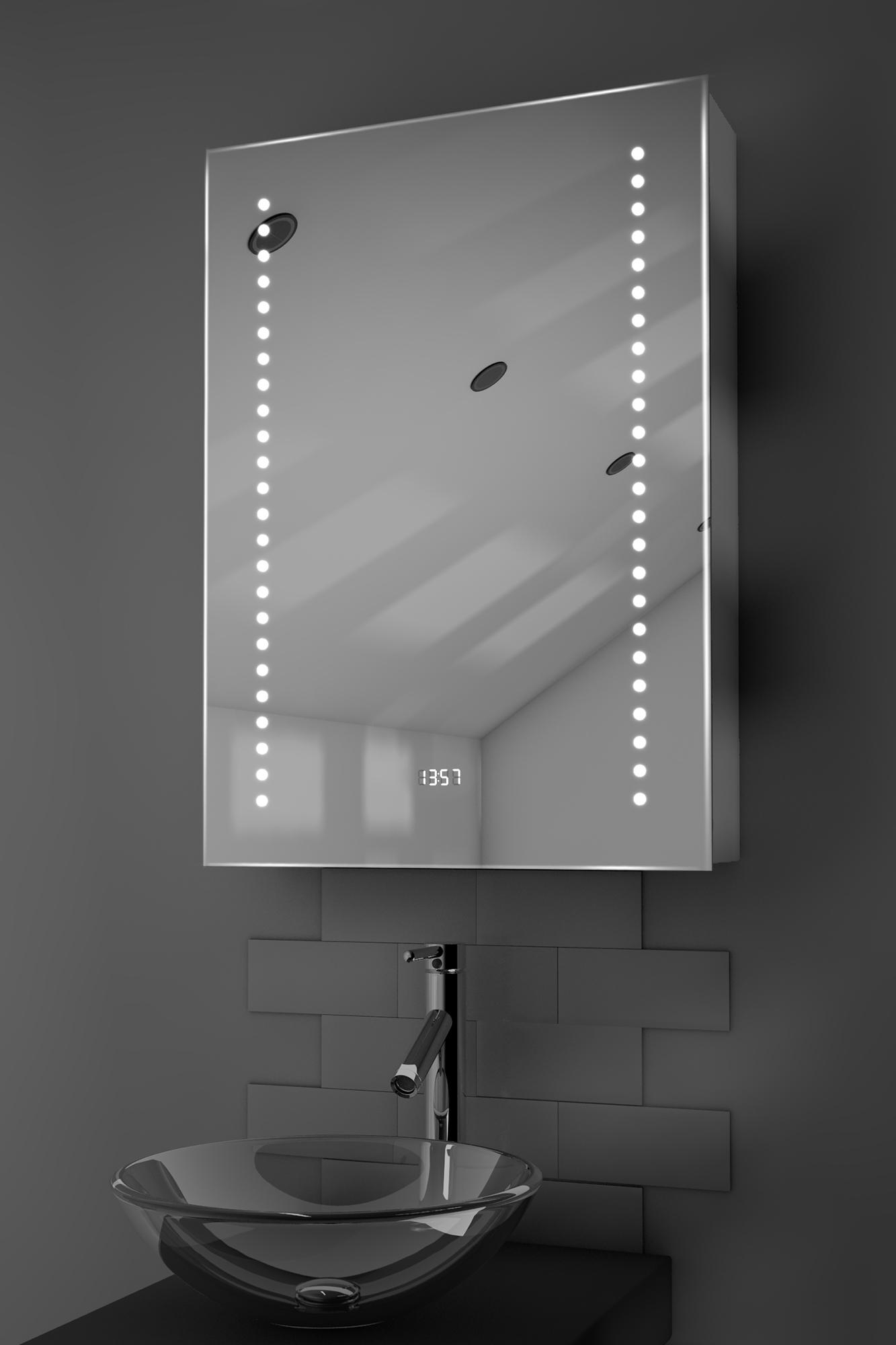 Ghita Clock Led Bathroom Cabinet With Demister Pad Sensor Shaver K387