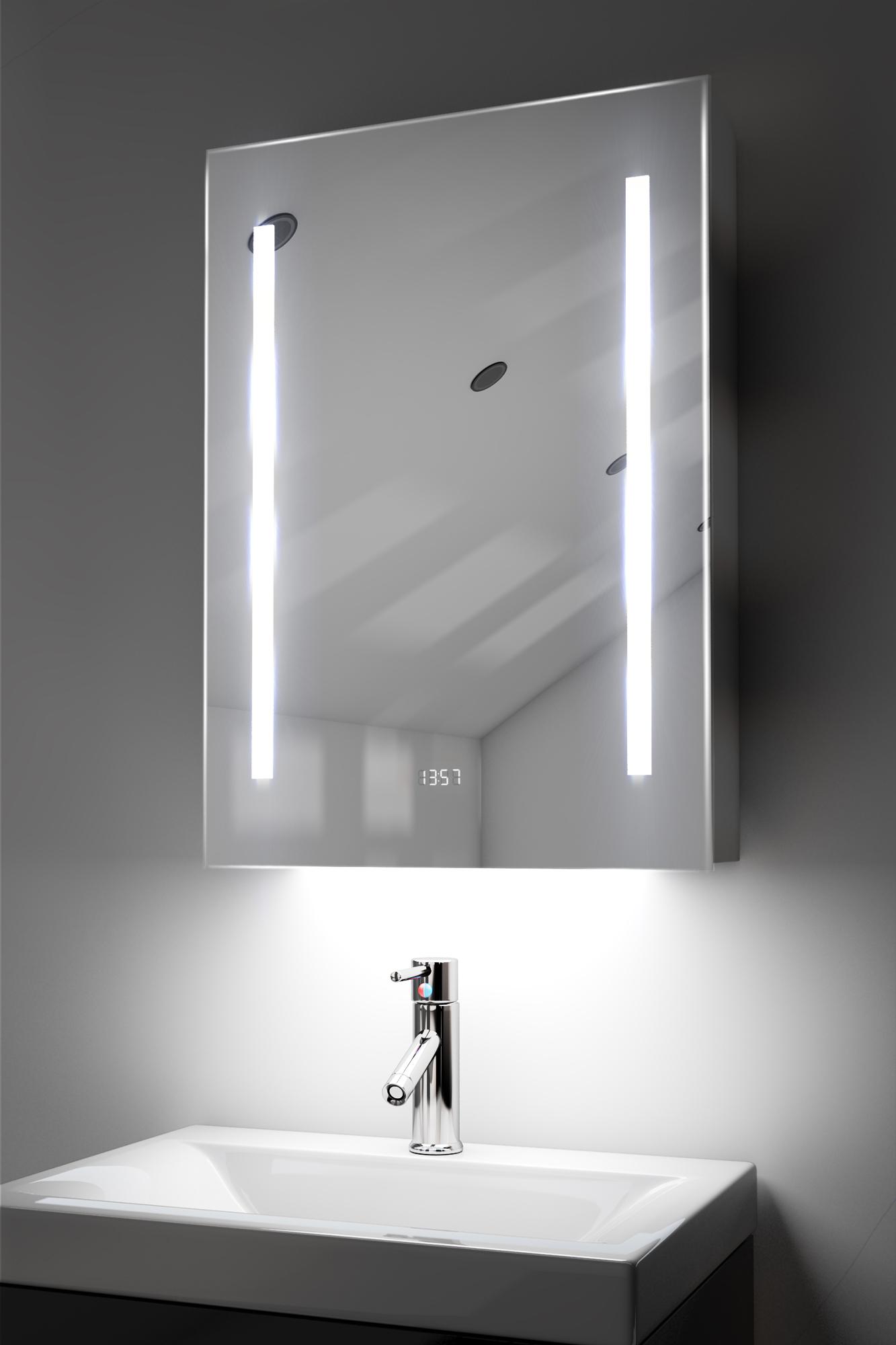 RGB Audio Bathroom Cabinet Mirror Clock Sensor Shaver