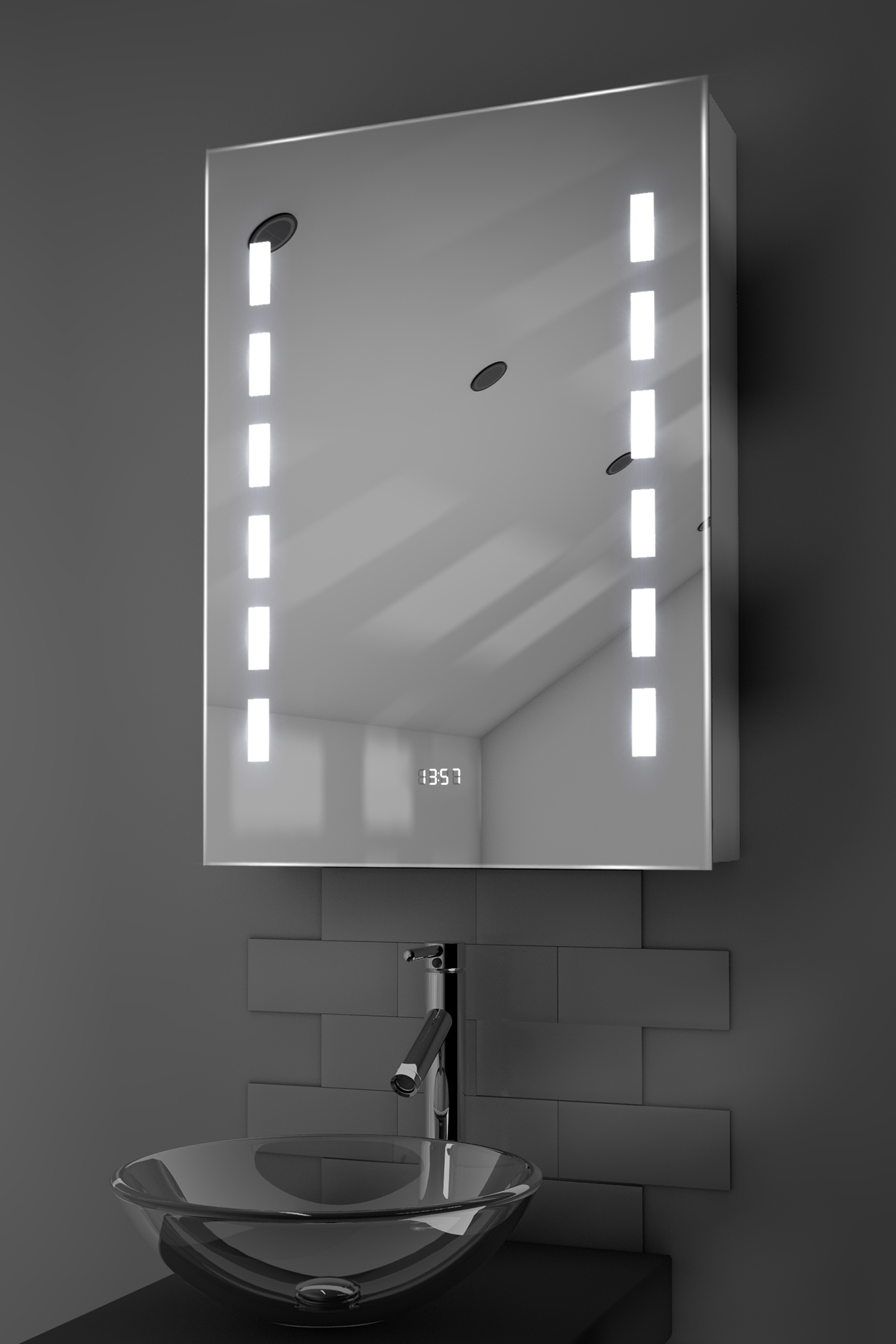 Kara clock led bathroom cabinet with demister pad sensor for Bathroom cabinets led
