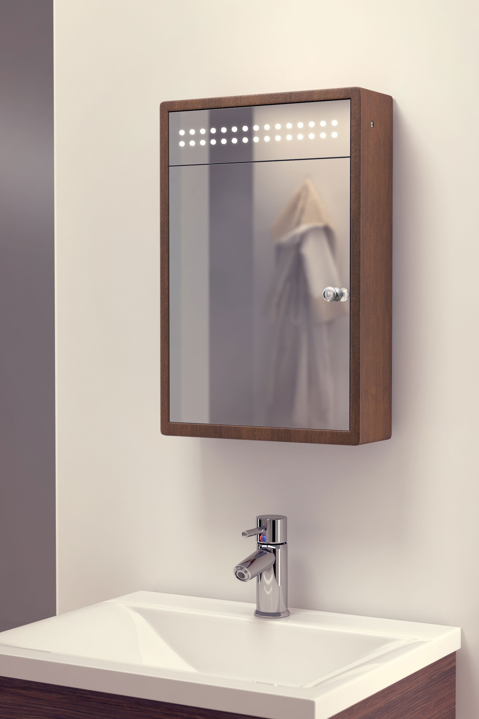 Persia solid oak led bathroom cabinet with demister pad for Bathroom cabinets led