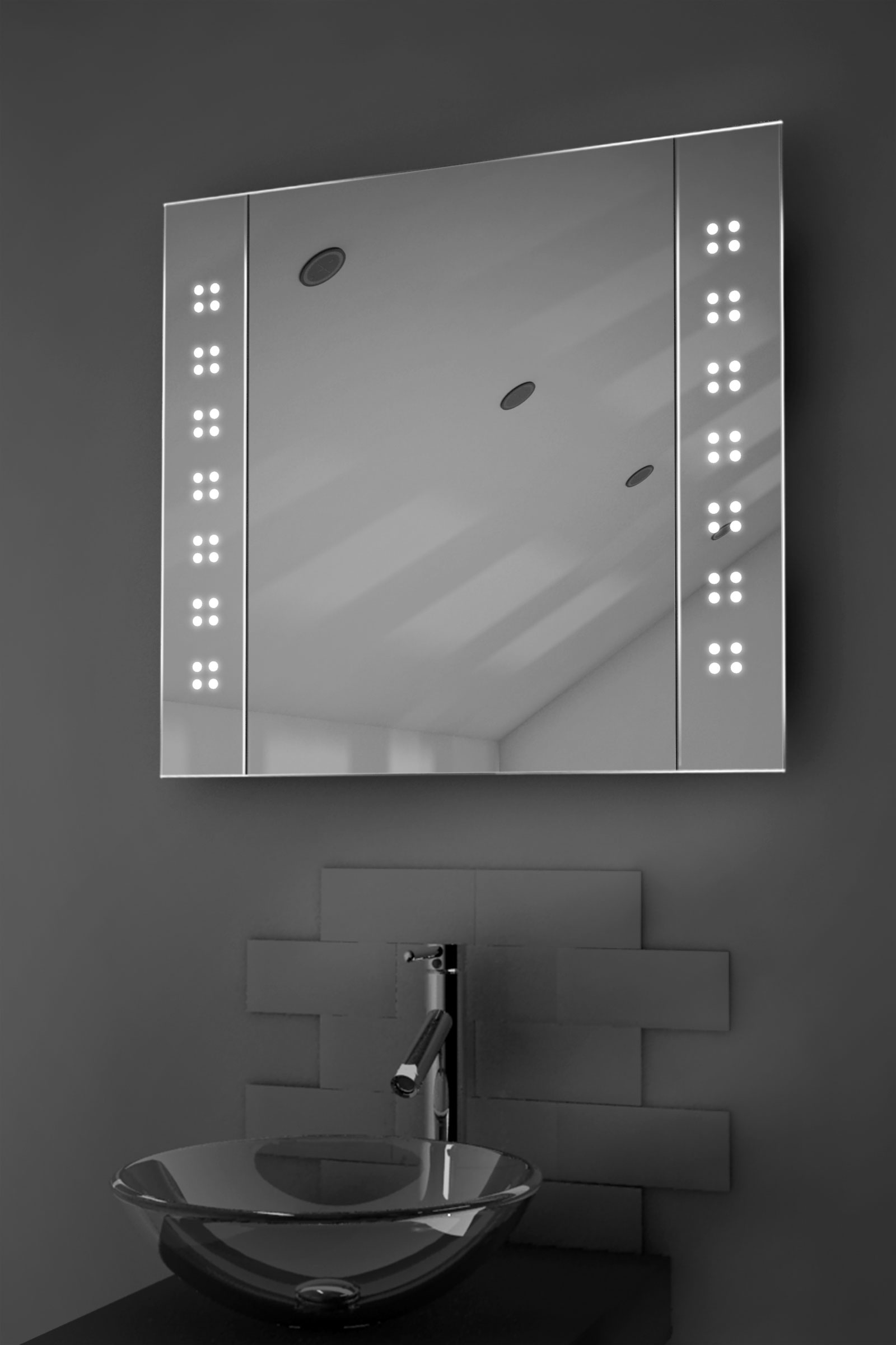 Amaze demister led bathroom cabinet with demister pad for Bathroom cabinets led