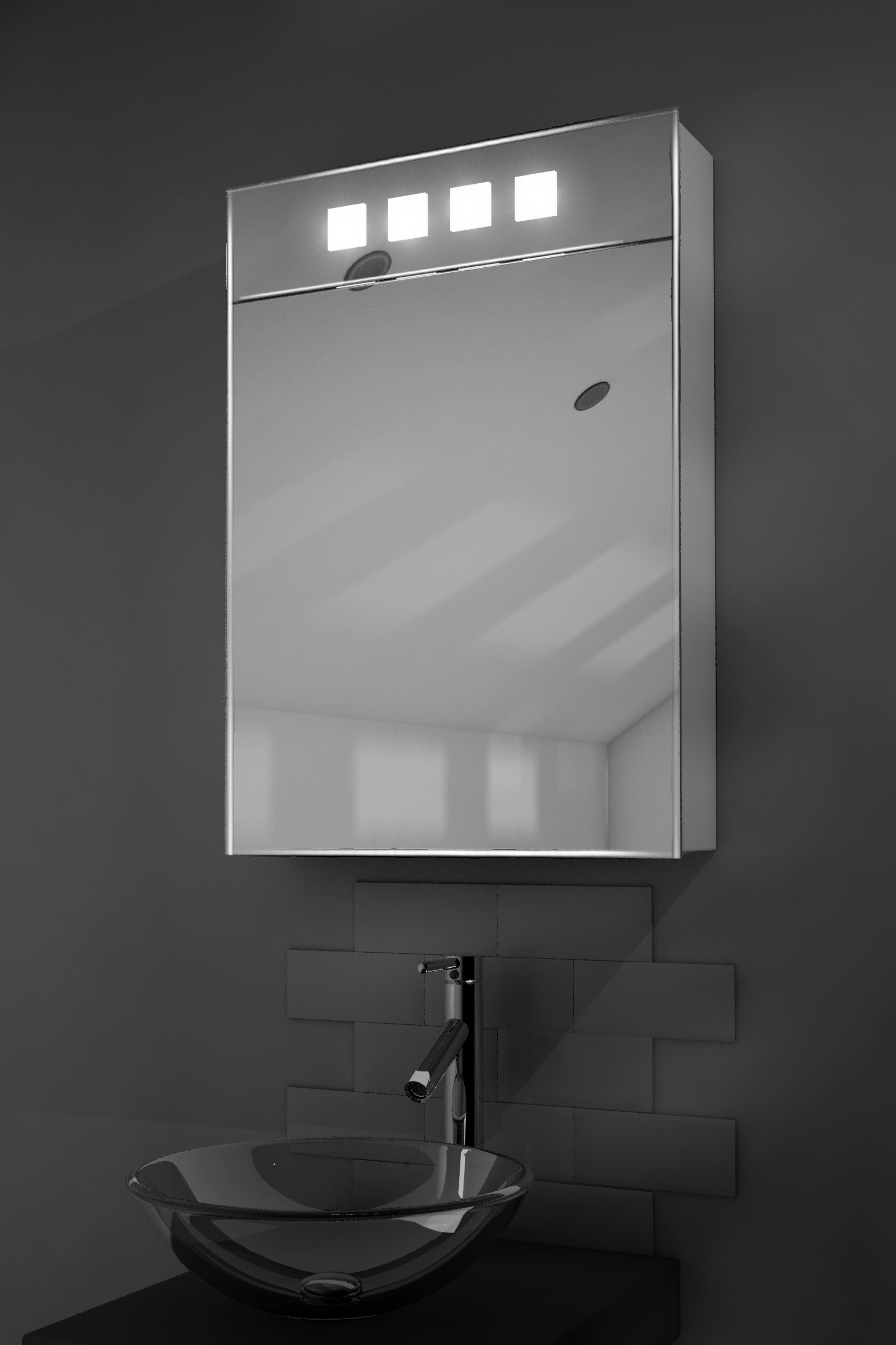 Bathroom mirror cabinets with light and shaver socket - Illuminated Bathroom Mirror Cabinet With Shaver Socket