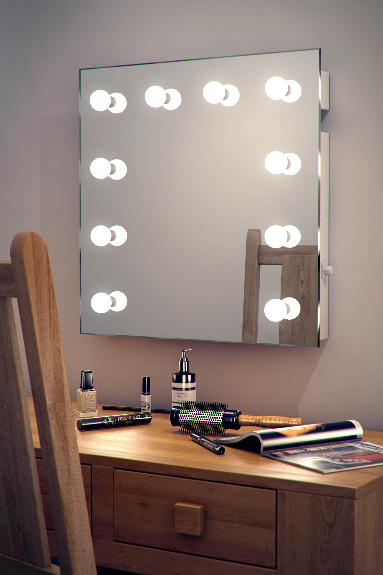 diamond x wallmount hollywood makeup mirror with daylight dimmable ... - Mobile Specchio Make Up