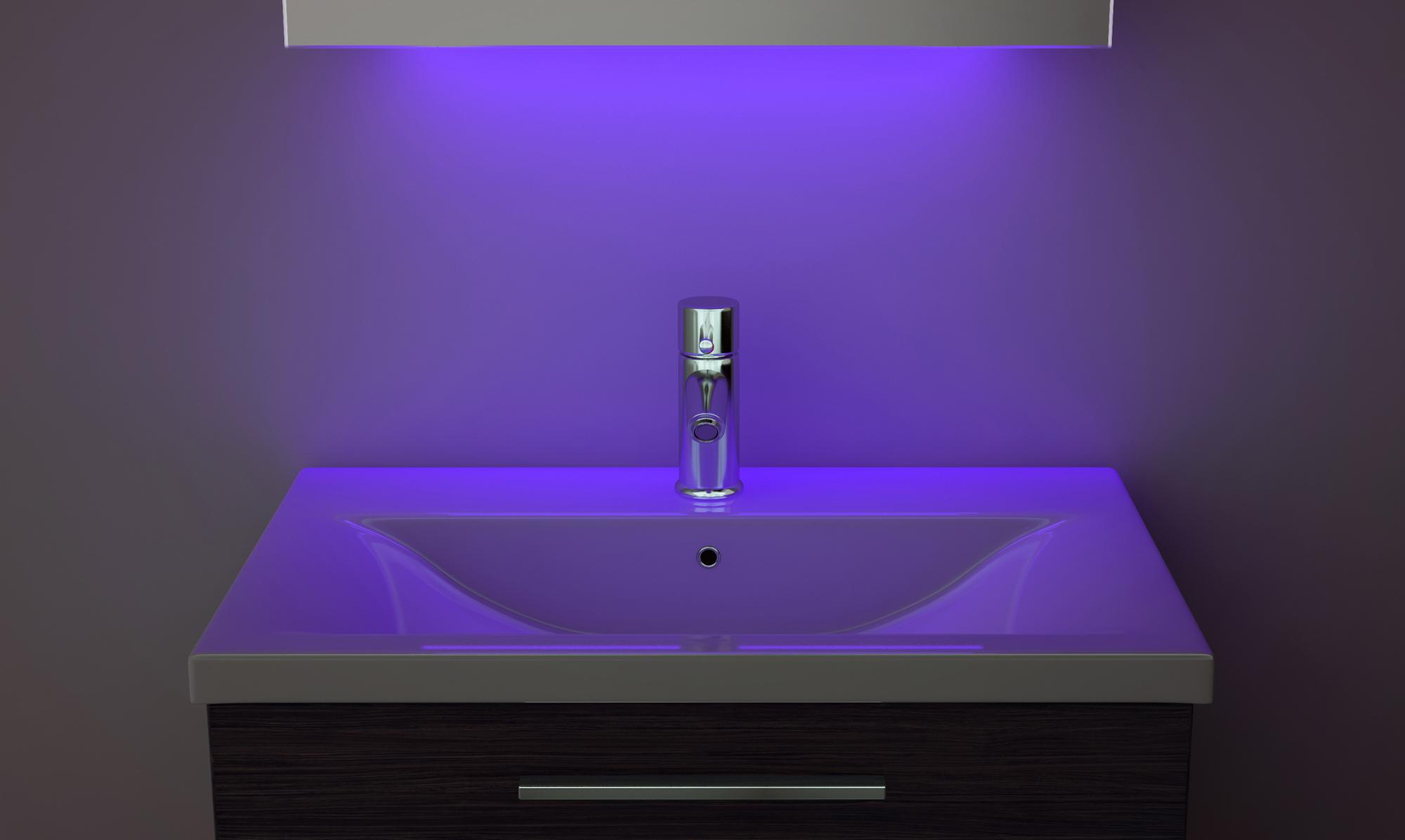 Digital Clock Slim Bathroom Mirror With Under Lighting