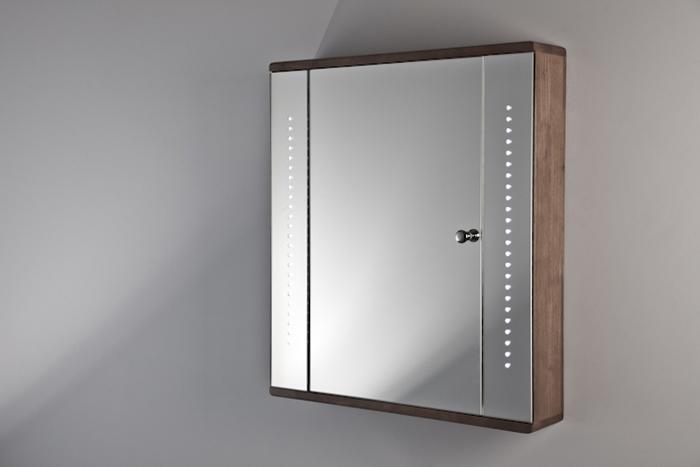 gemini solid oak led bathroom cabinet with demister pad sensor