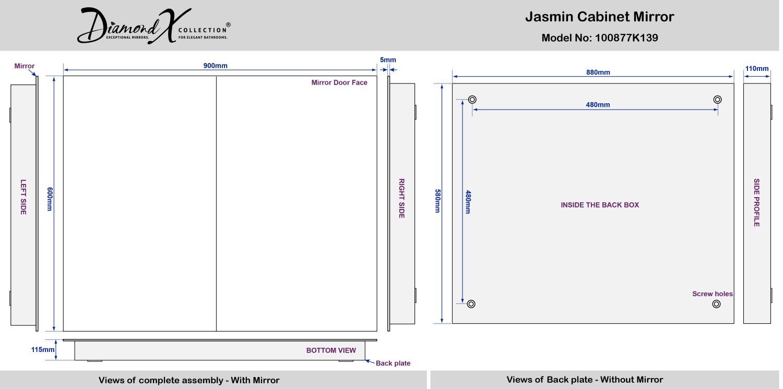 Jasmin Non Illuminated Bathroom Mirror Cabinet K139
