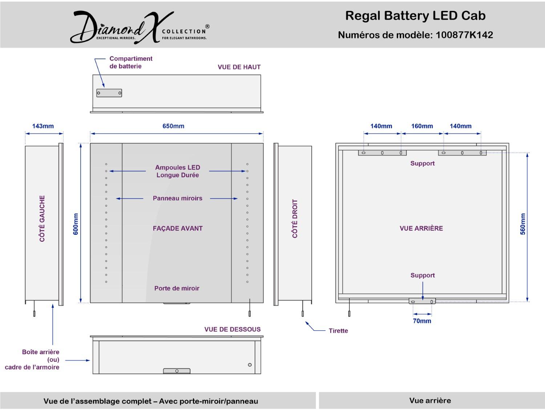 Regal LED-beleuchteter Batterie Badezimmer Spiegelschrank