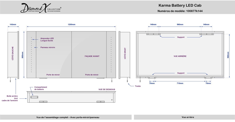 Karma LED Illuminated Battery Bathroom Mirror Cabinet With