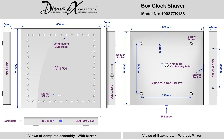 Specchio bagno Box rasatura con orologio, pannello antiappannante e sensore  eBay