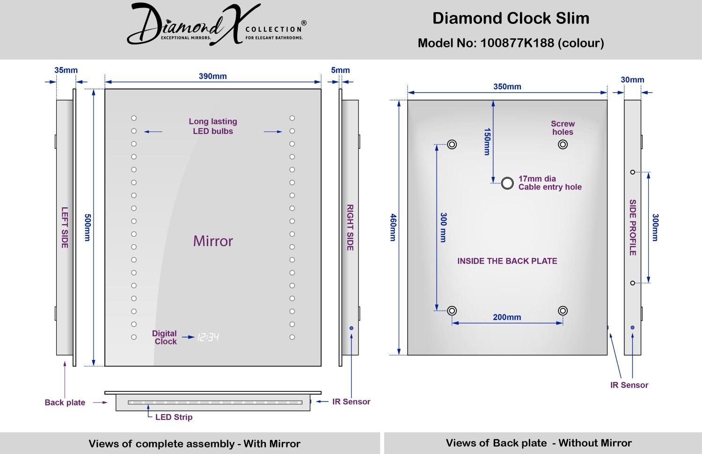 Miroir Salle De Bain Horloge. Miroir Avec Clairage Intgr L Cm ...