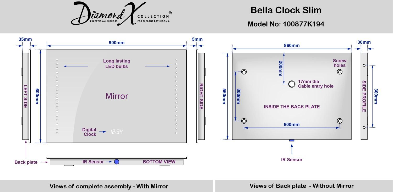 Specchio Bagno Bella Ultra Slim Con Orologio Pannello