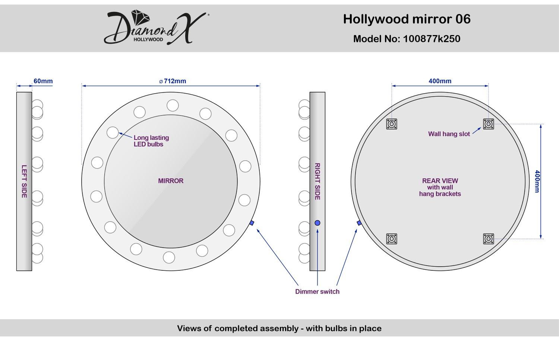 Bathroom Wall Sconce Round Dressing Room Led Mirror Light Bathroom Mirror Light Makeup Lamp: Round Hollywood Makeup Dressing Room Mirror With Dimmable