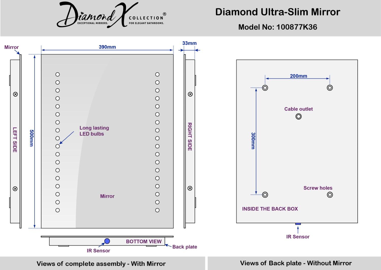 Specchio bagno Diamond illuminato a LED con pannello ...