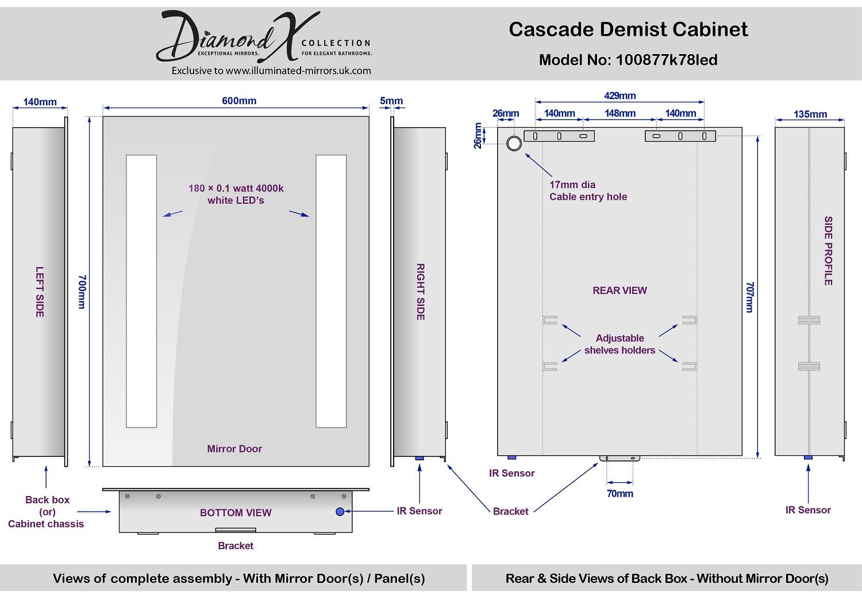 cascade demister led bathroom cabinet with demister. Black Bedroom Furniture Sets. Home Design Ideas
