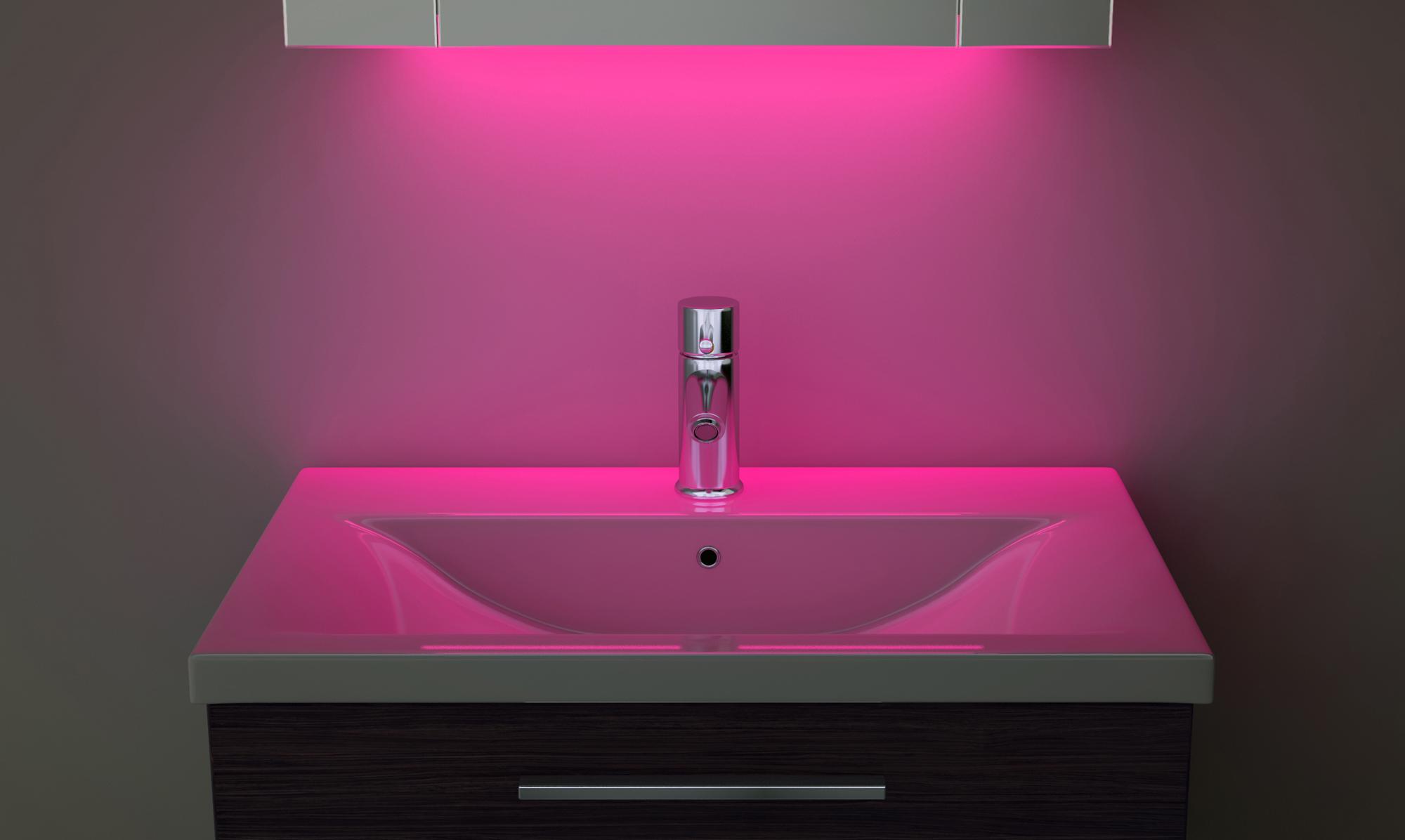 Wall Light With Shaver Socket: Clock Cabinet With LED Under Lighting, Demister, Sensor