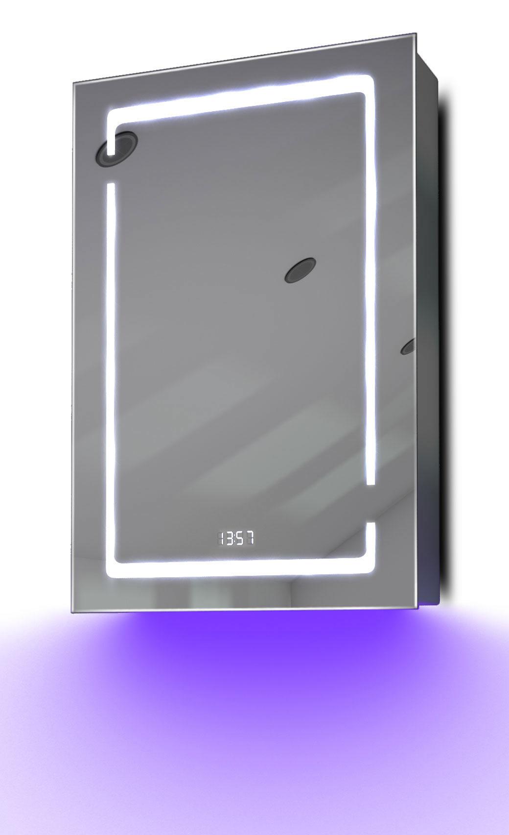 armoire de toilette anti bu e avec capteur prise rasoir et horloge k386u ebay. Black Bedroom Furniture Sets. Home Design Ideas
