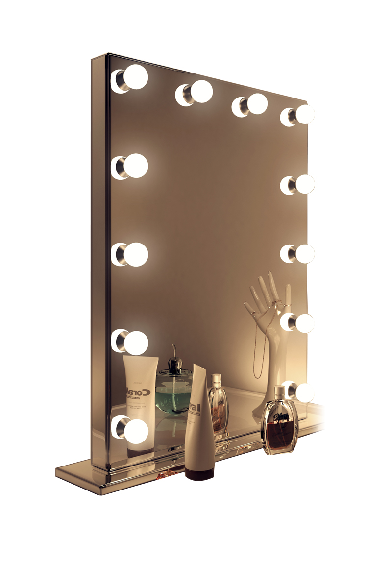 Miroir de maquillage hollywood rond finition miroir led for Finition miroir
