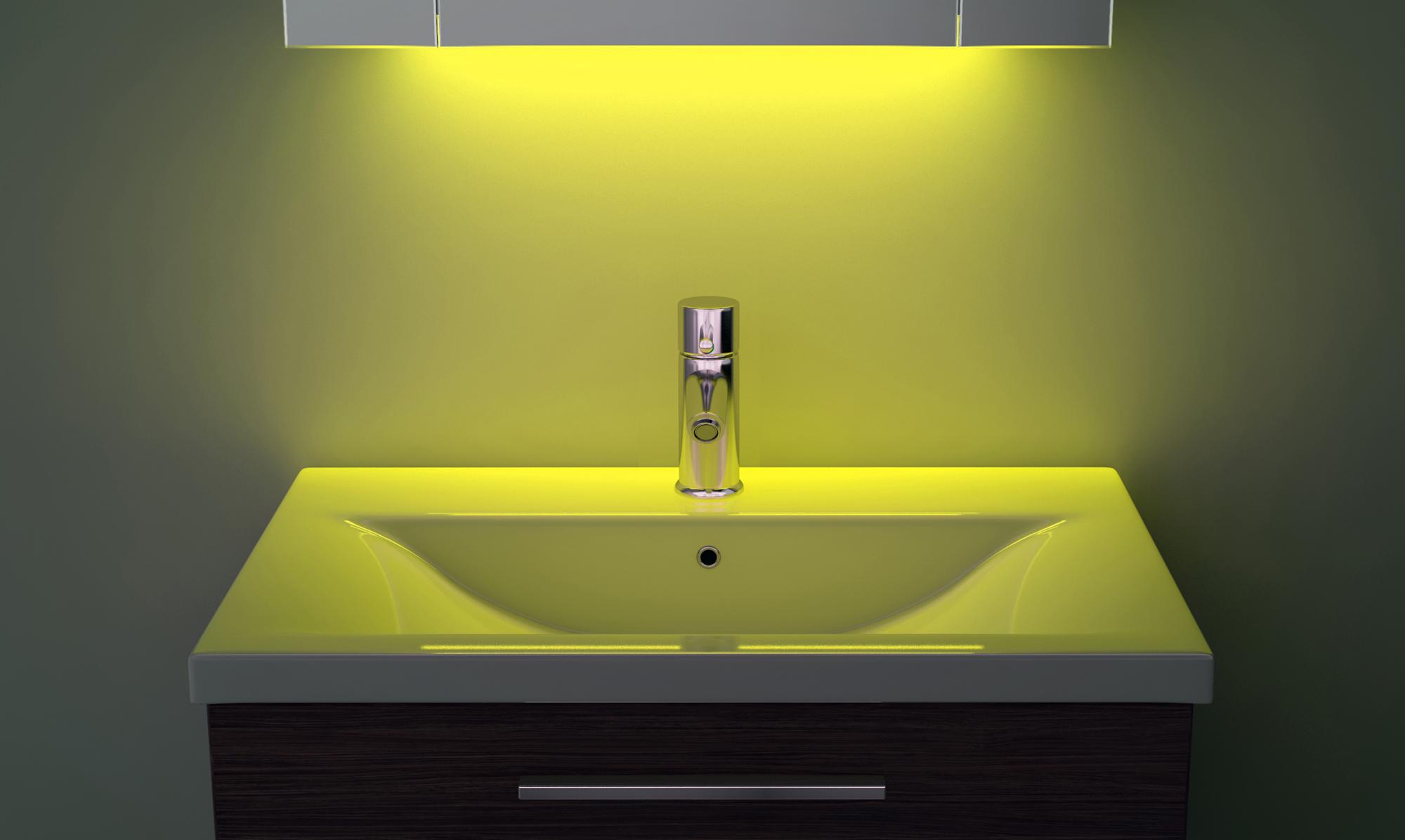 Wall Light With Shaver Socket: Demist Cabinet With LED Under Lighting, Sensor & Internal