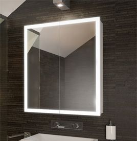 Lighted Edge & Bathroom Cabinets Mirrored Bathroom Cabinet with Lights ...