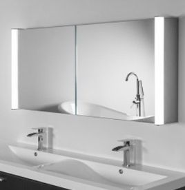 Super Bright Aura & Bathroom Cabinets Mirrored Bathroom Cabinet with Lights ...