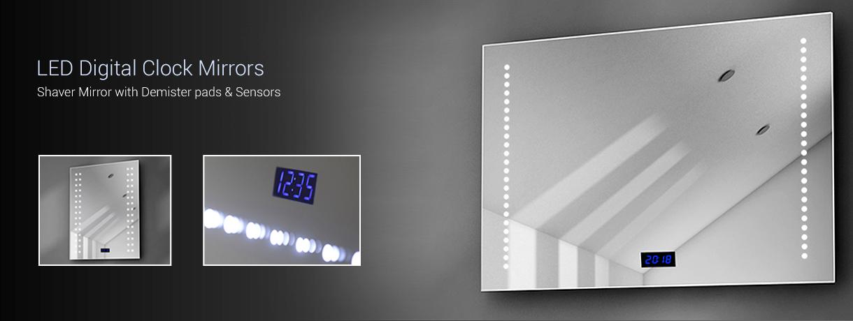 Led Mirror With Clock Led Digital Clock Mirrors Illuminated Mirrors Uk