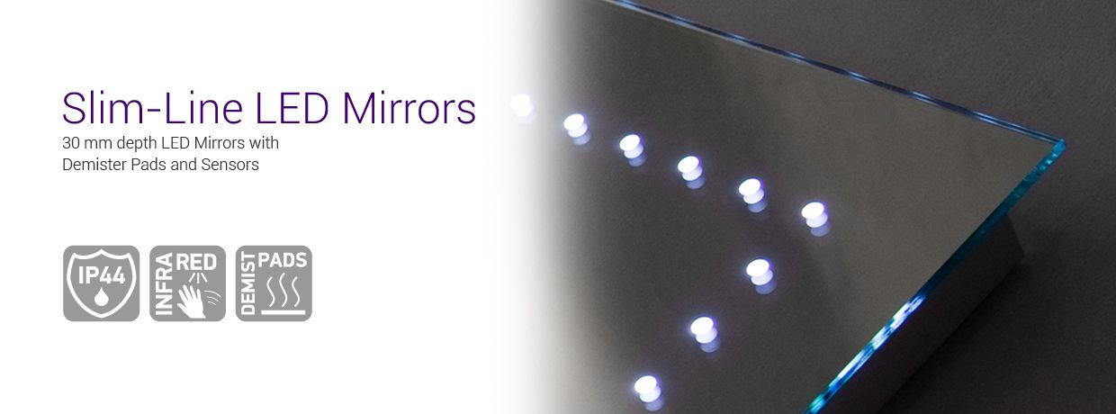 Ultra Slim LED Mirrors With Sensors Demisted Pads